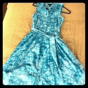 Talbots floral watercolor button front dress